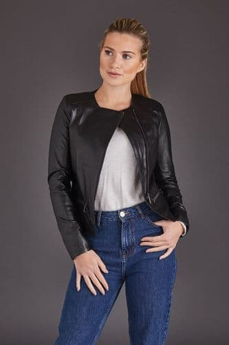 Black Leather Jacket Womens:Chanel
